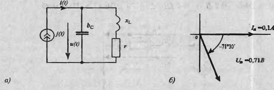 Схема цепи (а) и векторная