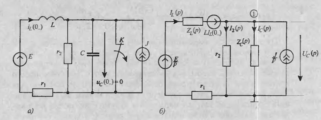 схема замещения (б) к